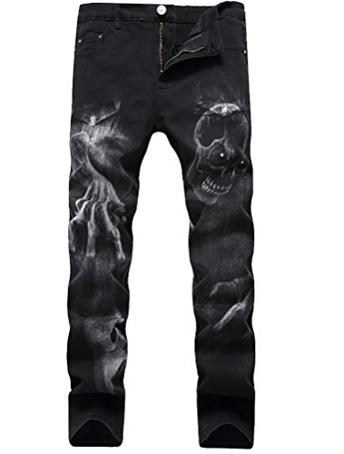 Lavnis Men's Black Printed with Skull Wolf Head Distressed Ripped Long Straight Slim Fit Skinny Jeans Pants Style 3-Black-30