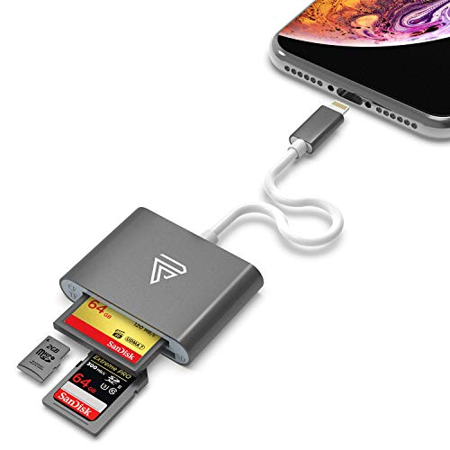 (Lightning to CF Card Camera Reader, Faracent Memory Card Reader Work with Compact Flash (CF), SDXC, SDHC, SD, Micro SD/TF Card, MFi Certified Space Grey)