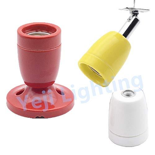Kamas E27 socket colorful screw lamp holder Ceramic Pottery and Porcelain lamp base for Yuba lights Crawl pet tortoise box Kamas (Color: yellow, Base Type: B type)