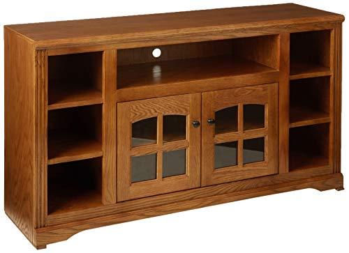 Eagle Oak Ridge Thin Screen Entertainment Console with Bookcase Sides, Medium Oak Finish