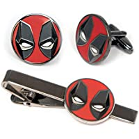SharedImagination Deadpool Cufflinks, The X-Men Tie Clip, Marvel Minimalist Jewelry, Wolverine Cuff Links Link, Cable Tie Tack Groomsmen Wedding Party Gift