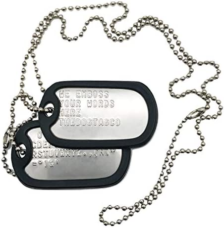 Military Dog Tags – Set of 2 Personalised Stainless Steel Nickel Plated Army Style Dog ID Tags with Ball Chains & silencers Read Description to See How to ADD Personalisation