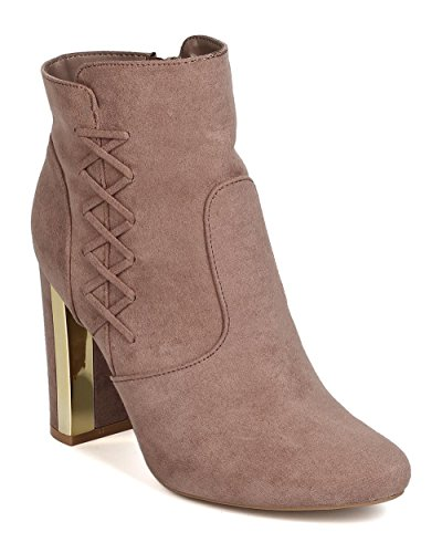Metallic Trim Boot - Qupid Women Faux Suede Lace up Metallic Trim Chunky Heel Bootie GJ18 - Taupe (Size: 9.0)