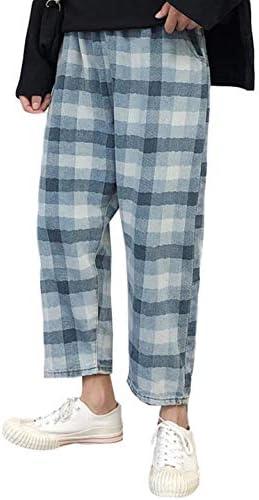 (ジュージェン)チェックパンツ メンズ ゆったり ワイドパンツ デニム チェック柄 ファッション ロングパンツ アンクル丈 おしゃれ デニムパンツ ストリート系