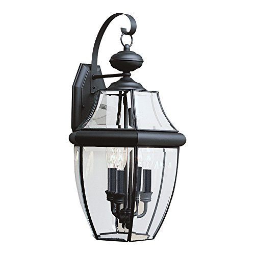 (Sea Gull Lighting 8040-12 Lancaster Three-Light Outdoor Wall Lantern with Clear Curved Beveled Glass Panels, Black Finish)