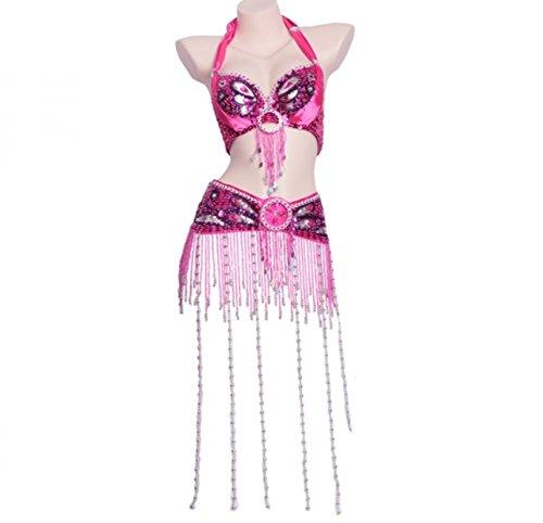 Frangia Donne Set Danza Wqwlf Di Reggiseno Professionale Lunga Ballo S Del Cintura E Perle Da Vestito Per Prestazione A Rose Fatto Ventre Costumi l Mano Con qxf10xwC
