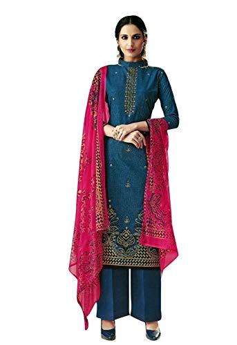 Ladyline Readymade Foil Printed Cotton Salwar Kameez with Chiffon Dupatta Ready to Wear Indian Dress (Size_34/ Blue)