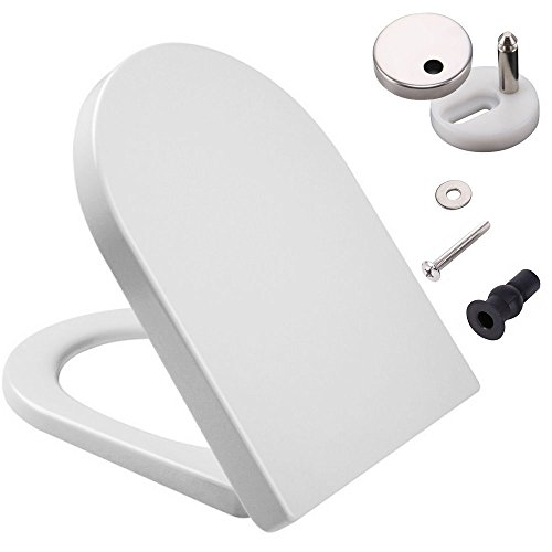D-Shaped White Toilet Seat with Soft Close & Quick Release Hinges,...