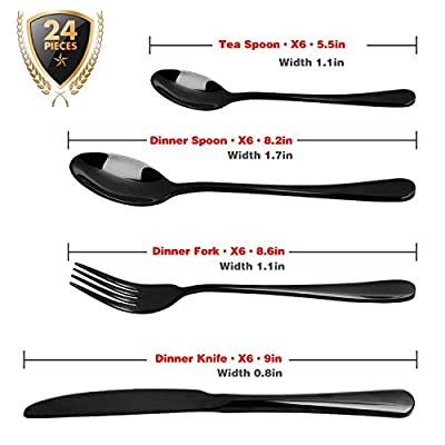 Silverware Set, HOBO 24 Pieces Flatware Cutlery Set, Black Stainless Steel Dinnerware Set, Heavy-Duty Utensils Tableware Set, Knife, Fork and Spoon Set with Box, Service For 6