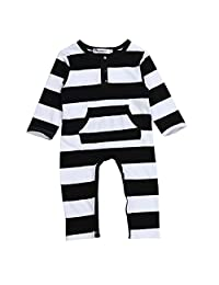 Phenovo Unisex Baby Girl Boy Romper Cotton Outfits Onesies Stripe Long Sleeve Autumn - Black and White, 70