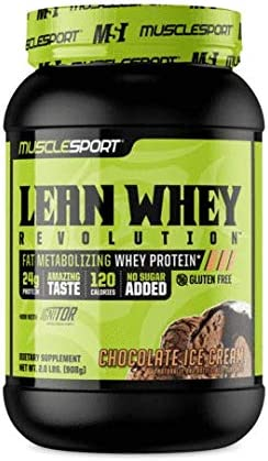 MuscleSport Lean Whey Revolution 2LB, Chocolate Ice Cream Protein Powder, Whey Protein Isolate, Fat Burning, Weight Loss, Low Calorie, Low Carb, Low Fat, Incredible Flavors