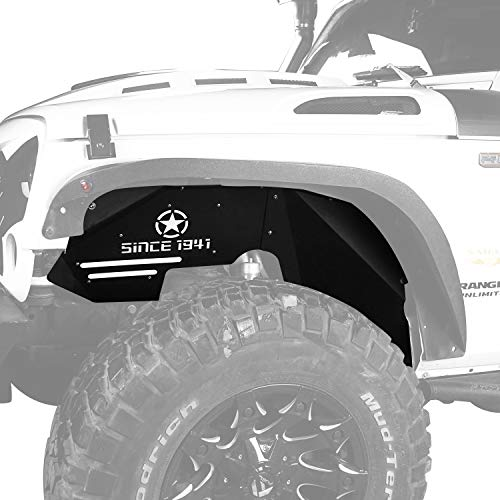 Hooke Road Front Steel Inner Fender Liners w/Five Star Logo for 2007-2018 Jeep Wrangler JK Sport Sahara Rubicon 2/4 Doors