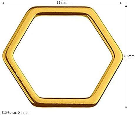 1 St/ück Sadingo Schmuckverbinder 925er Sterling Silver eckig Sechseck Hexagon Gold Makramee,DIY Schmuck 10 x 11 mm