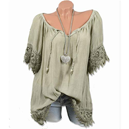 Witspace Women O-Neck Solid Lace Patchwork Short Sleeve Blouse Shirt Tops