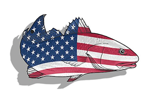 USA Red Fish Sticker Car Truck Laptop Fishing Decal American