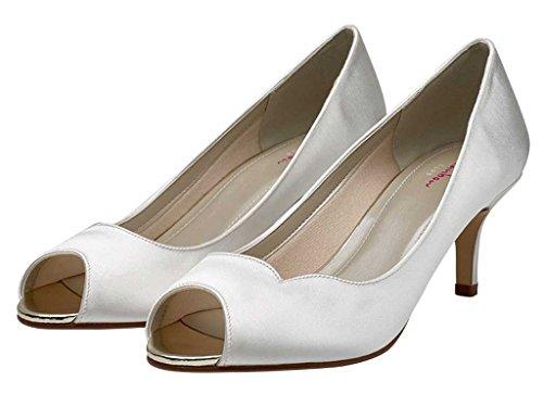 Rainbow Club Ellen - Ivory Satin Peep Toe Shoes j4amPl