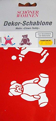 Mal-Schablone Clown-Teddy 11x26 cm Kunststoff: Amazon.de: Küche ...