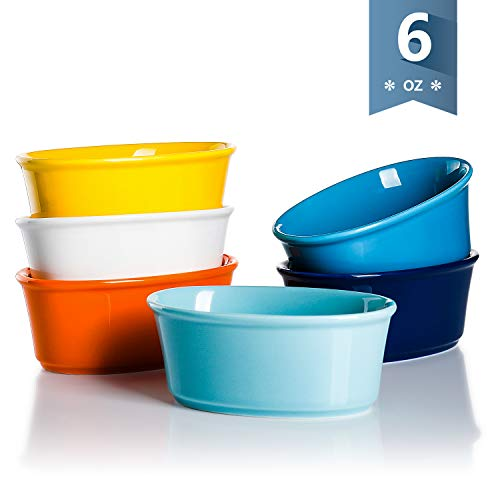 Sweese 506.002 Porcelain Souffle Dishes 6 Ounce, Oval Ramekins for Baking, Set of 6, Hot Assorted Colors ()