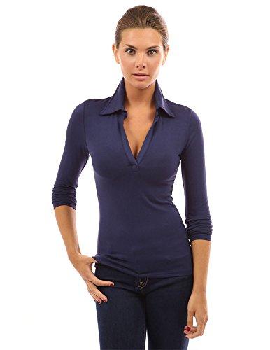Blue V-neck Long Sleeves - PattyBoutik Women V Neck Long Sleeve Polo Shirt (Navy Blue Small)