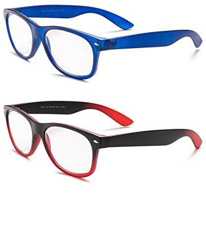 Specs Wayfarer Reading Glasses (Matte Blue and Black/ Red Gradient) +1.25 - Glasses Reading Blue