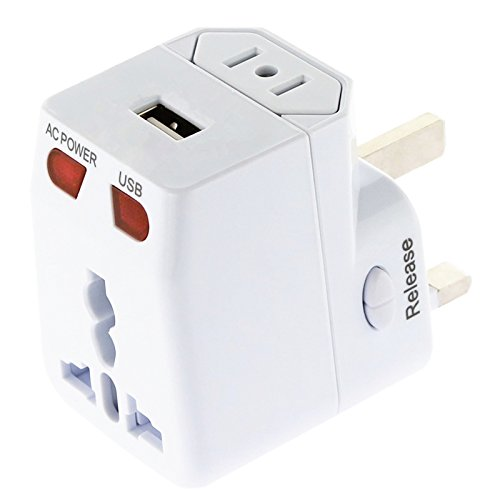 Kastar Safety Universal World-Wide Travel Adapter, with 1.0A USB Charging Port, All-in-one AC Power Plug For USA EU AUS UK (White Color)
