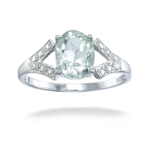 Sterling Silver Green Amethyst Ring 1.20 CT