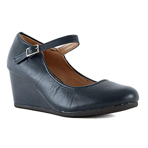 Womens Classic Comfortable Mary Jane Shoe - Round Toe Mid Low Heel Wedge Walking Pumps (8 M US, Navy Pu)