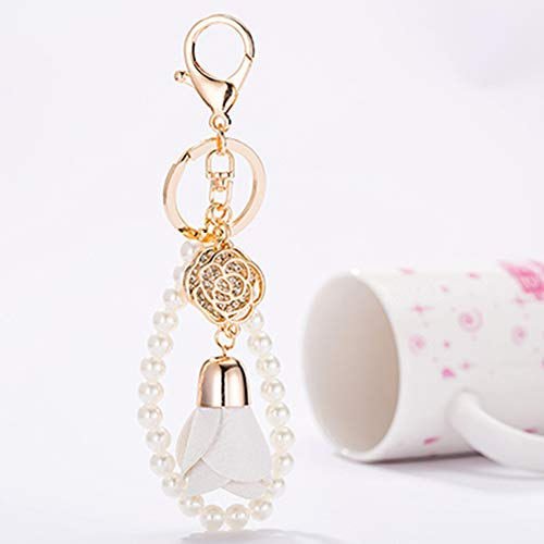 ain Leather Rhinestone Rose Shape Auto Key Ring Hooks Keychain for Women Purse Bag Charms Ornaments (White) ()