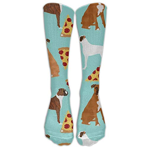 GOGO Boxer Dog PizzaKnee High Graduated Compression Socks for Women and Men - Best Medical, Nursing, Travel & Flight Socks - Running & Fitness