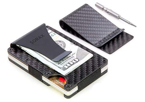 Carbon Fiber Wallet & Carbon Fiber Money Clip - Minimalist Wallet - Metal Wallet - RFID Blocking Slim Wallet and Money Clip, Front Pocket Wallets for Men - Credit Card - Titanium Carbon Fiber Slip