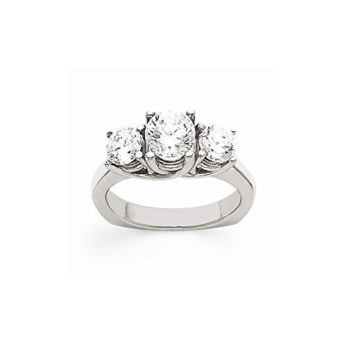 14k White Gold Semi-Mounting Aa Diamond Three Stone Ring, No Center Stone Included -