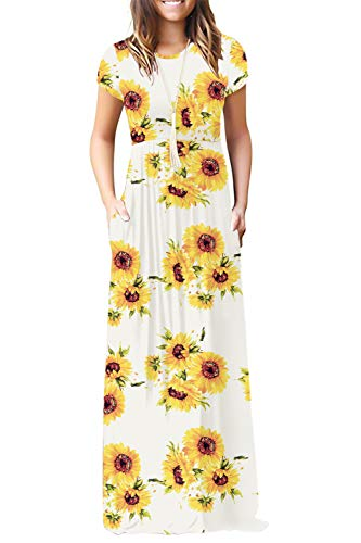 (Euovmy Women's Short Sleeve Loose Plain Dresses Casual Long Maxi Dress with Pockets Floral Sunflower White Large )
