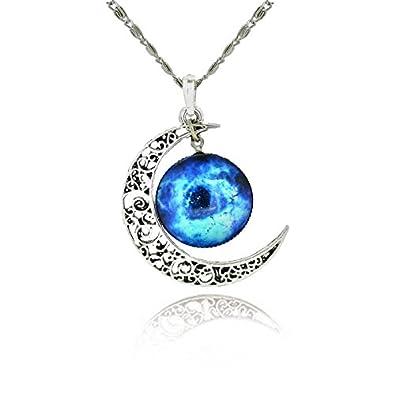 ea6b303de2f4 1000 et un bijoux. Collier Lune Galaxie Bleu  Amazon.fr  Bijoux