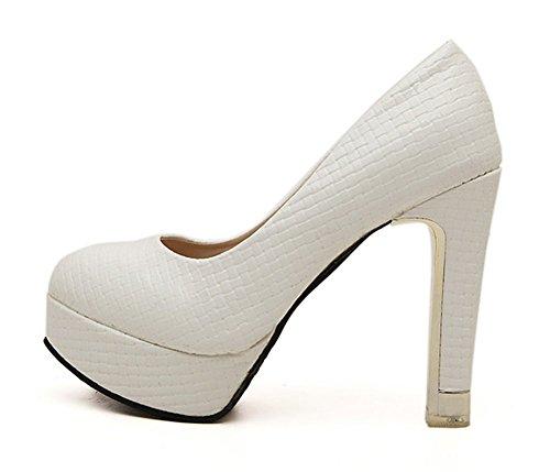 Easemax Femmes Élégant Bout Rond Bas Haut Slip Sur La Plate-forme Haute Talons Chunky Pompes Chaussures Blanc