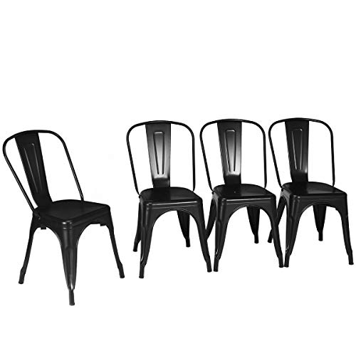 - 4Pcs Black Metal Stool Tolix Style Bistro Cafe Seat Decor Stackable Dining Side Chair with Ebook