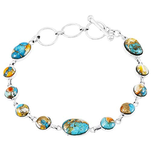 (Turquoise Link Bracelet Sterling Silver 925 Genuine Turquoise (Spiny Turquoise))