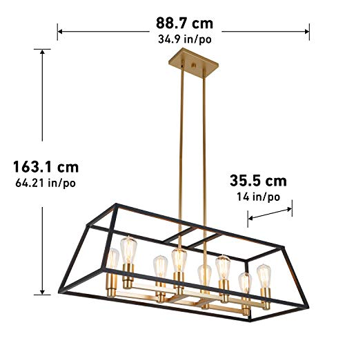 Artika CAR36-ON Rectangular 8 Pendant Light Fixture, Kitchen Island Chandelier, with a Steel Black and Gold Finish, Age Brass by Artika (Image #4)
