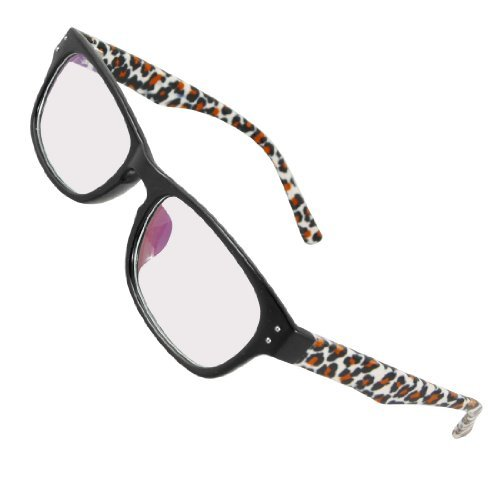 0bd1cd25bf Women Plastic Leopard Prints Arms Black Full Frame MC Lens Spectacles   Amazon.in  Clothing   Accessories