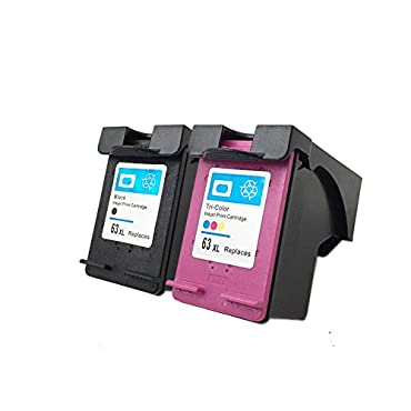 YATUNINK 2PK Replacement for HP 63XL Black F6U64A & Color F6U63A Ink Cartridge Compatible with Officejet 3830 4650 4655 Envy 4520 4522 Printer