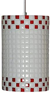 """product image for A19 PM20309""""Checkers"""" Single Light Pendant from The Mosaic Collection, Red and White"""