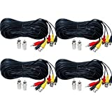 VideoSecu 4 Pack 100ft HD Security Camera Cables Pre-made All-in-One BNC Audio Video Power Extension Wire Cord with BNC RCA Connectors for 720P 960P 1080P 960H CCTV Surveillance DVR System WUU