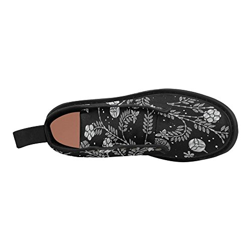 InterestPrint Fashion Shoes Black and White Flower Print Lace Up Boots For Women Black Sole zfmtOb5N