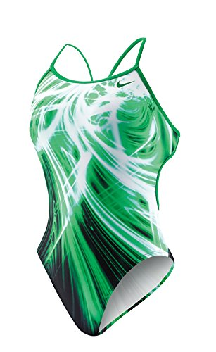 Nike Swim NESS4005 Womens Galactic Opera Modern Cut-Out Tank, Court Green-34