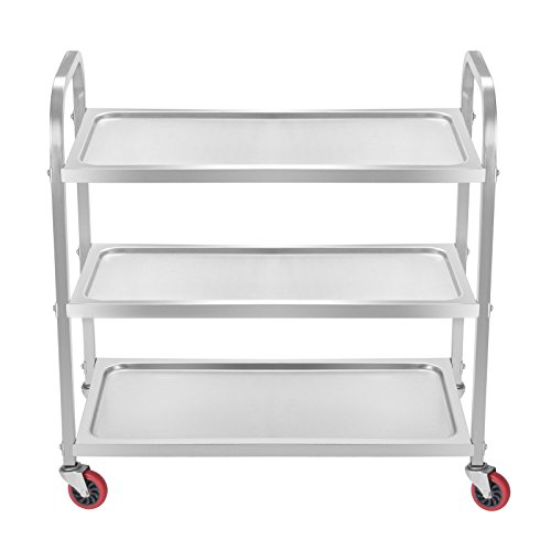 Superland 3 Shelf Utility Cart 264Lbs Stainless Steel Cart with Wheels Commercial Bus Cart for Kitchen Commercial Hotel Restaurant Dining Area Utility Serving (3 Shelf) by Superland OrangeA (Image #2)