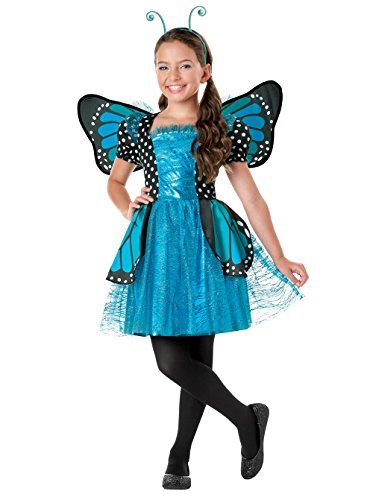 SEASONS DIRECT Halloween Girl Brilliant Butterfly Blue Costume with Wing & headband (4-6 (Blue Butterfly Halloween Costume)