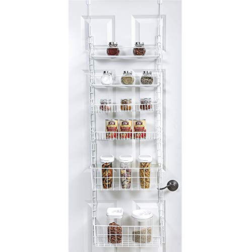 Smart Design Over The Door Adjustable Pantry Organizer Rack w/ 6 Adjustable Shelves - Large 58 Inch - Steel Construction w/ Hooks & Screws - for Cans, Food, Misc. Item -