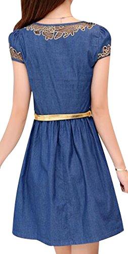 Short Jean Dress Women line Belted Sleeve Denim A Pullover XU TRENDY Dress PAxY8Y