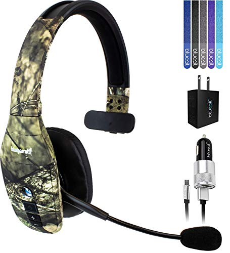 BlueParrott B450-XT Noise Canceling Bluetooth Headset (Mossy Oak) with AC Power Supply Bundle with Blucoil Car Charger with Micro USB Cable, USB Wall Adapter and 5-Pack of Reusable Cable Ties Bluetooth Headset Car Charger Adapter