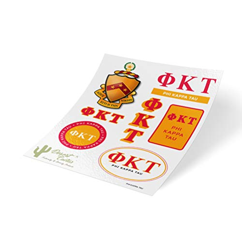 Phi Kappa Tau Fraternity - Phi Kappa Tau Standard Sticker Sheet Decal Laptop Water Bottle Car Phi Tau (Full Sheet - Standard)