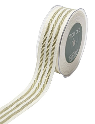 May Arts Ribbon 1.25 Inch Woven Stripes Ribbon 25 yd Ivory/Olive Green ()